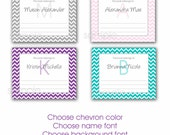 Chevron Bookplate Labels / you choose layout and color / makes a nice gift idea / book adhesive stickers