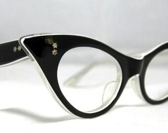 Vintage Cat Eye Glasses. Cute Black and White Pointy CatEye Frames.