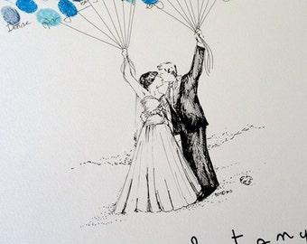 Custom Couple Thumbprint Balloon, Wedding Balloon Guestbook, Fingerprint Guest Book, Alternative Guest Book  (inks available separately)
