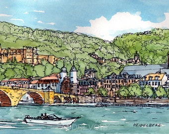 Heidelberg Germany art print  print of original watercolor painting