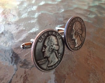 1989 Quarter Cufflinks  jewelry by Custom Coin Rings Handmade