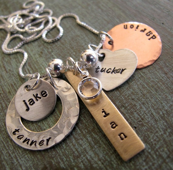 Personalized family charm necklace mother 39 s necklace for How do you make hand stamped jewelry
