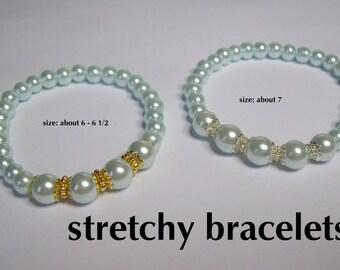 Light Blue Pearl Bracelet on stretchy cord  .... Faux Pearl Bracelet