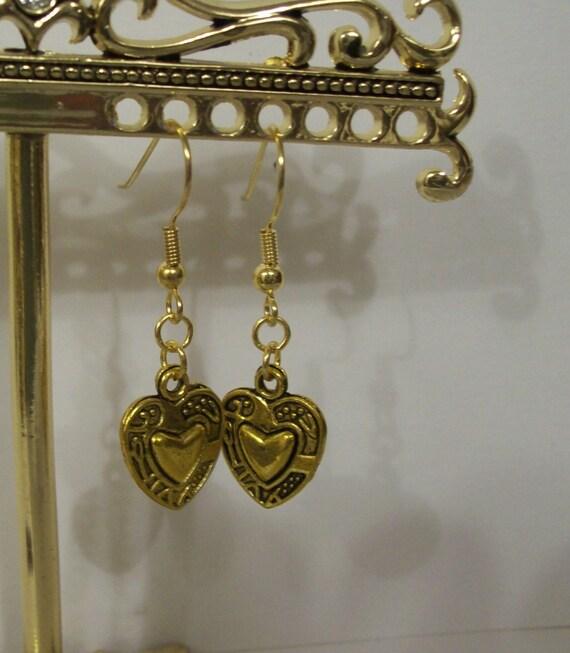 Heart Charm Gold Earrings ... very cute