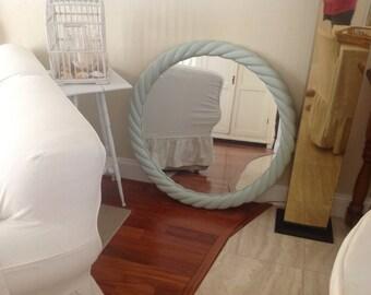 Large Robins Egg Blue Mirror Hollywood Regency 3 Ft Tall Greg Copeland Style Palm Beach Style On Sale at Retro Daisy Girl
