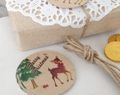 Retro Style Festive Deer Christmas Gift Tags
