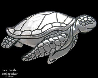 Sea Turtle Belt Buckle Sterling Silver or Yellow Brass