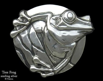 Tree Frog 1 Belt Buckle Sterling Silver or Yellow Brass