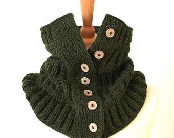 Knitting Pattern  Buttoned Dark Green Cowl Scarf - Unisex  (pdf file)