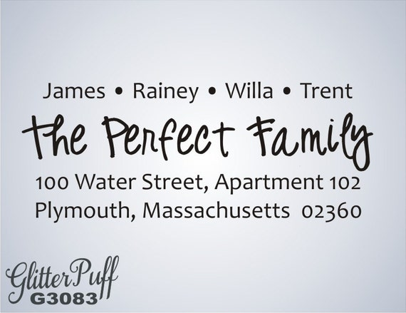 Family Address Stamp - Family gift, return address stamp - acrylic, knob or self inking  (G3083)
