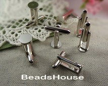 12 pcs (6 pairs) Silver  Pleate Cufflink Backs Blank Findings Base Cuff Link w/ 8mm Pad