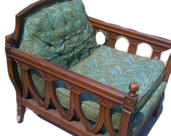 Arm chair french antique vintage victorian wood carvings price includes upholstery service