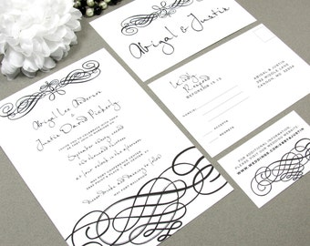 Script Handwritten Wedding Invitations Black and White Invite Set Elegant Pocket Suite Swirl Wedding Invitation Formal - RunkPock Designs