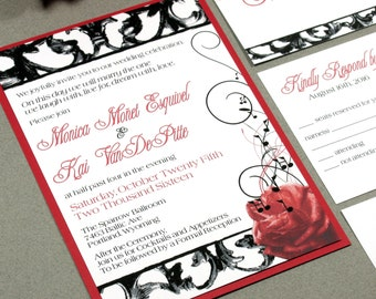 Hollywood Wedding Invitation Set, Red Wedding Invitation Hollywood, Rose Wedding Invitation, Music Note Wedding, Red and Black Wedding