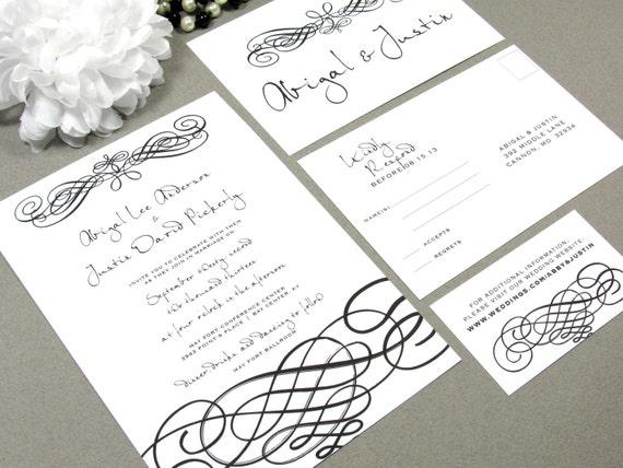 Script Handwritten Wedding Invitations Black and White Invite Set Elegant Pocket Suite Swirl Wedding Invitation Formal - RunkPock Designs