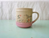Lovely Large Mug or Cup, Pink and Tan, Orange and Green Floral