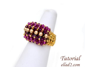 Tutorial Ring Malina - Beading Pattern, Instant download, PDF, Jewelry Tutorials by Ellad2