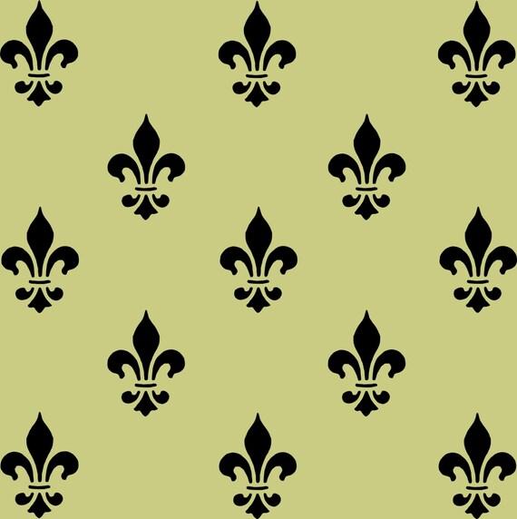 Items similar to stencil fleur de lis wall paper Fleur de lis wall