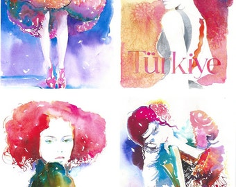 8 x 10 All Fashion Watercolor Prints, Fashion Art Prints, Fashion Illustration Prints, Fashion Wall Art, Small Giclee Fashion Prints,