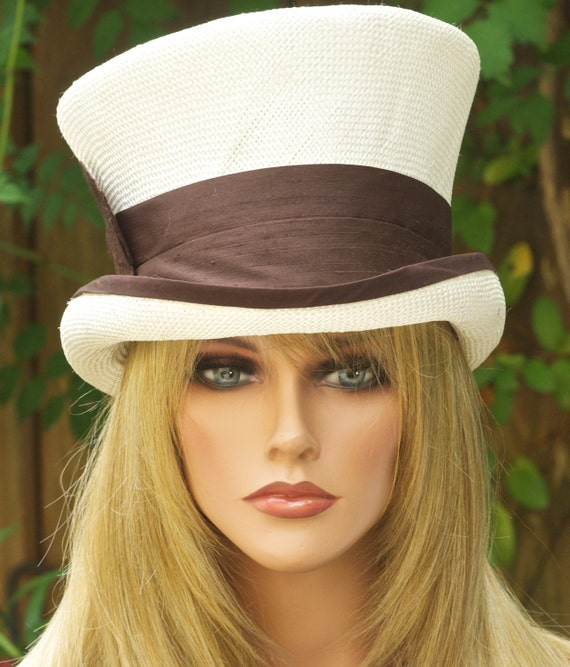 Kentucky Derby Hat, Top Hat, Derby Hat, Wedding Hat, Mad Hatter, Brown and Ivory Hat, Ascot hat