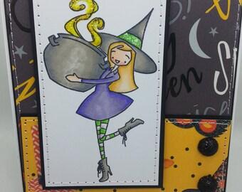 Halloween Brewing up some Fun - Blank NoteCard, Greetings Card, Handmade Card