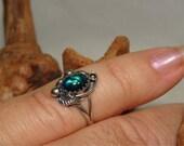 Vintage NAVAJO Ring PAUA SHELL Size 5 Handmade