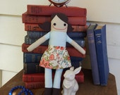Wistful Wendy - Handmade Doll in Blue and White Stripes