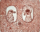 Etching / limited edition original etching (printmaking / graphic art) / original print / original art / bird etching / love - 'He and She'