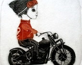 Etching / limited edition original etching (printmaking / graphic art) / original print / original art / biker - 'Boy and his motorcycle'