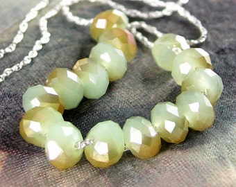 Milky Green with Topaz Aurora Necklace Sterling Silver Opal Green Crystal Necklace Pale Green Necklace Light Green Crystal Beaded Necklace
