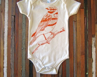 Organic Cotton Onesie - Screen Printed American Apparel Baby Onesie - Woodland Bird - Eco Friendly - Handmade - Feather (You pick size)