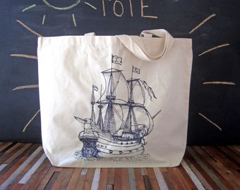 Canvas Tote Bag - Recycled Cotton Grocery Tote - Reusable and Washable - Eco Friendly and Awesome - Nautical - Pirate Ship - Market Tote