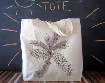 Canvas Tote - Screen Printed Recycled Cotton Grocery Bag - Large Tote Bag - Market Tote - Reusable and Washable - Eco Friendly - Pine cone