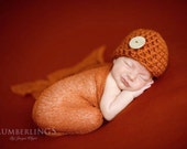 SET Pumpkin Orange Button Beanie Hat and Stretch Knit Wrap Newborn Photography