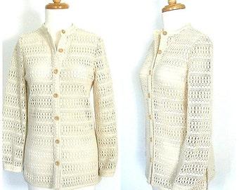 Vintage Crochet Sweater - 70s sweater  - cream - womens cardigan - Schrader Sport - medium