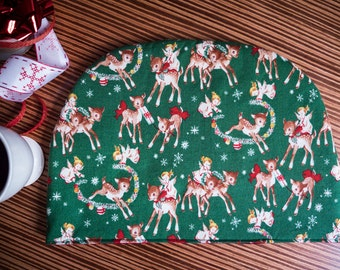 SALE Reversible Holiday Tea Cosy Teapot Cover Retro Style Reindeer and Angels Print Vintage Inspired Christmas Holiday Hostess Gift