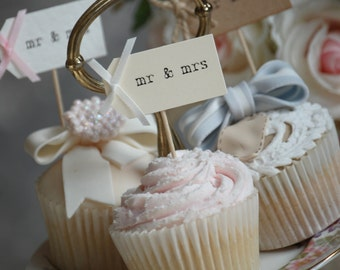 Mr & Mrs Party Picks - cream with ivory bows - set of 10