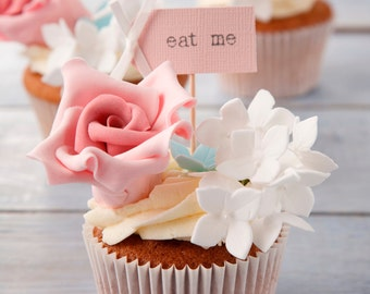 Eat Me Party Picks - blush pink with ivory bows -  set of 10
