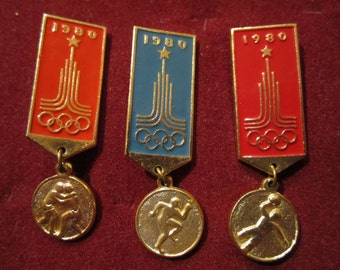Set of 3 Vintage USSR CCCP  Olympics Game Moscow 1980 Collectible Badges Pins
