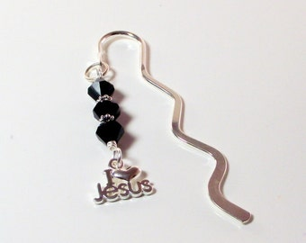 I Love Jesus Beaded Black Crystal Bookmark in Silver