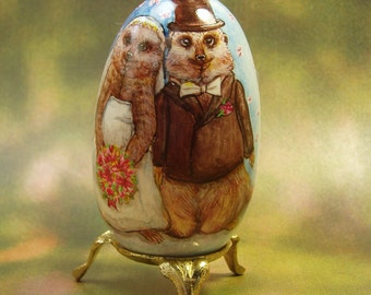 Loving Meerkats, Wedding, Marriage, Hand Painted Goose Egg Shell, with Love Poem, Personalized
