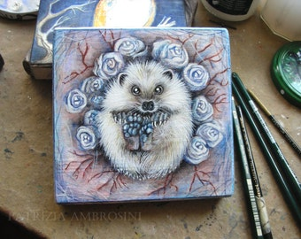 "Art Block handpainted - 4.5x4.5"" - on Wood - White hedgehog - ORIGINAL Painting collectible"
