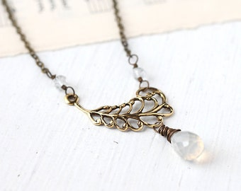 Feather White Chalcedony Necklace Wire Wrapped in Antique Brass, Elegant Gemstone Necklace - Golden Angel
