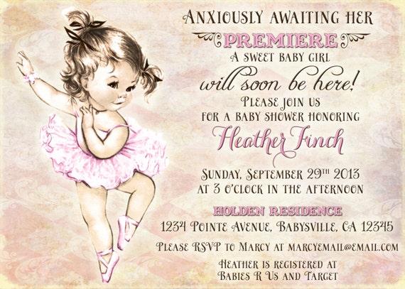 Vintage Ballerina Baby Shower Invitation For Girl by jjMcBean