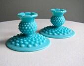 Vintage Turquoise Blue Hobnail Milk Glass Candlesticks by Fenton - Pair - 1950s