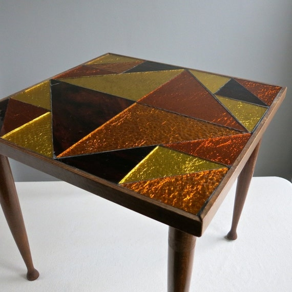 Glass Mosaic Top Side Table in Brown, Orange and Yellow Geometric Triangles, circa 1970
