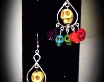 Pirate Pride - Multi-colored Skull Dangle Earrings