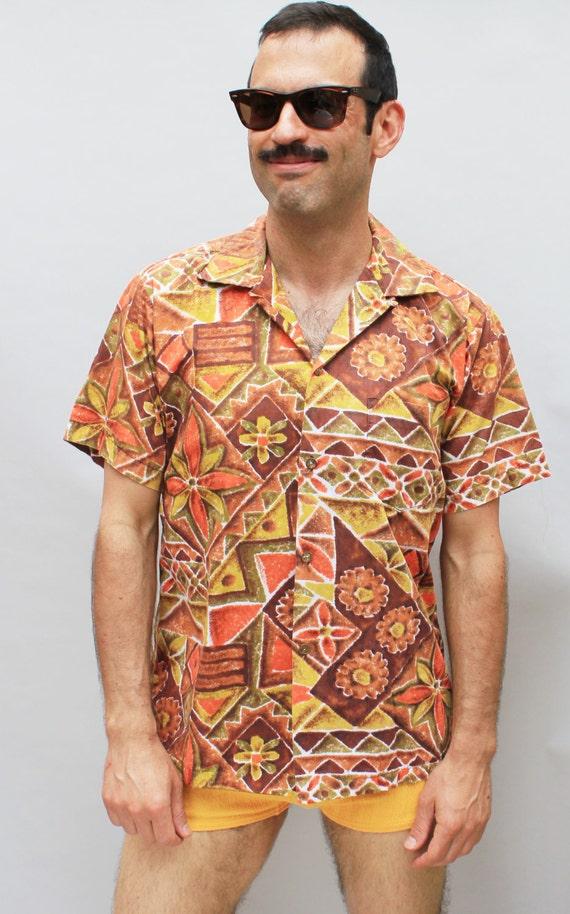 70s Vintage Lightweight Men's Hawaiian Shirt, orange, yellow, tribal, Tiki - medium