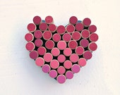 Love Wine Cork Message Board Heart - Ombré Pinks and Reds