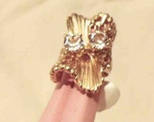 New Old Stock 1970s  Free Form Statement Ring 18K Gold Clad Set with 2 Carats Cubic Zirconia Stones